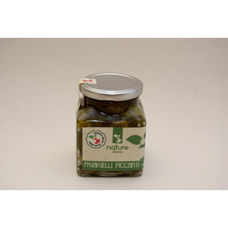 sottolio friarielli con piccante in olio extravergine d'oliva